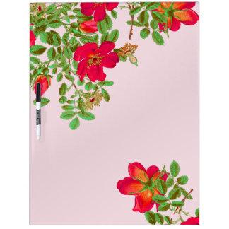 Botanical Cabbage Rose Flowers Floral Dry-Erase Board