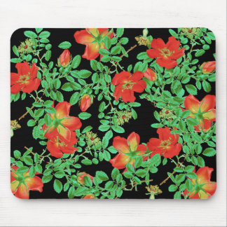 Botanical Cabbage Rose Flowers Floral Mouse Pad