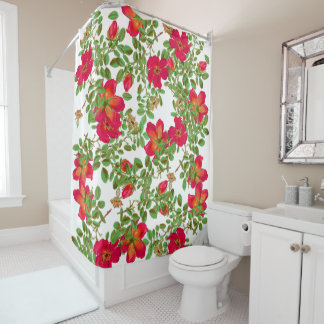 botanical cabbage roses rosebud flowers floral shower curtain