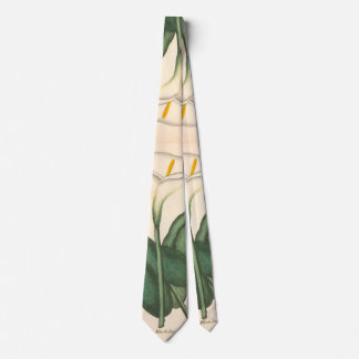 Botanical Calla Lily Flowers Floral Leaves Tie