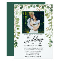 Botanical Calligraphy Photo Wedding Green Invitation