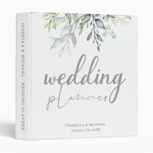 Botanical Calligraphy Wedding Planner 3 Ring Binder