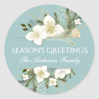 Botanical Christmas Floral Bouquet Holiday Classic Round Sticker
