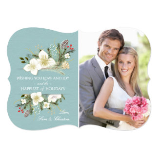 Botanical Christmas Floral Bouquet Holiday Photo Card