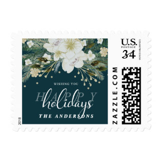 Botanical Christmas Holiday Watercolor Bouquet Postage