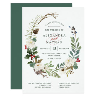 Botanical Christmas | Holiday Wedding Invitation