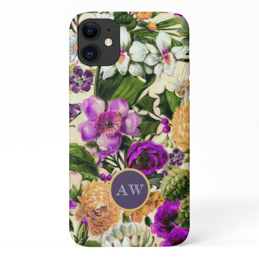 Botanical collage vintage flowers elegant monogram iPhone 11 case