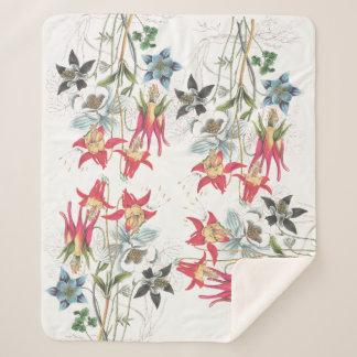 Botanical Columbine Flowers Sherpa Blanket
