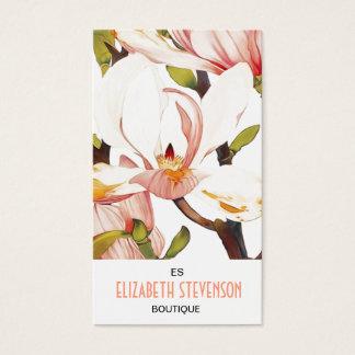 Botanical Coral Pink Magnolia Flowers Floral Art Business Card
