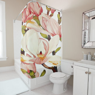 botanical coral pink magnolia flowers floral art shower curtain