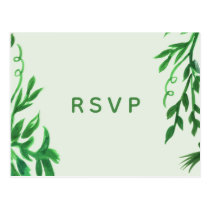 Botanical crest Greenery Wedding Invitations rsvp