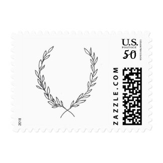 Botanical Crest Wreath Wedding Postage