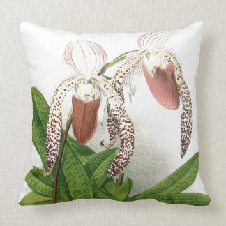 Botanical Cypripedium Orchid Flowers Floral Pillow