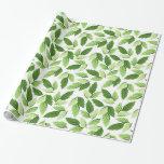 Botanical Design - Leaves (Leaf) - Green White Gift Wrap