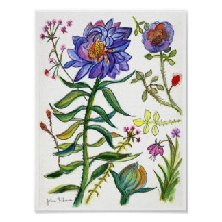 Botanical Drawing of Wonderful Blue Flower Print