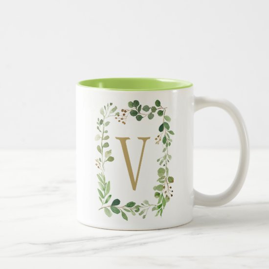 Botanical Dream Green Leaves Monogram Two-Tone Coffee Mug