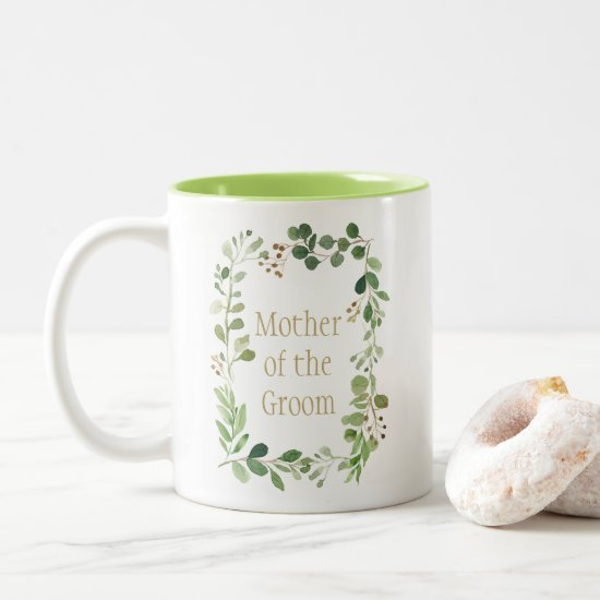 Botanical Dream Green Leaves Mother of the Groom | Two-Tone Coffee Mug