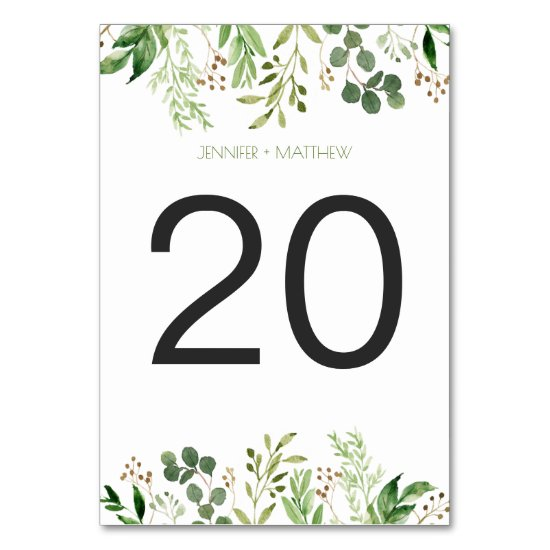 Botanical Dream Rustic Greenery Table Cards