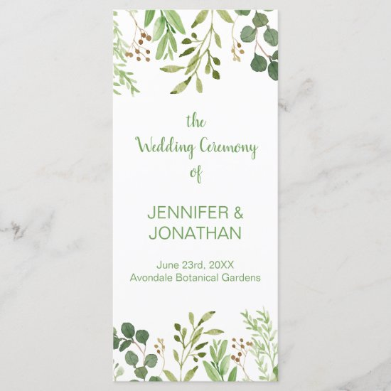 Botanical Dream Wedding Program