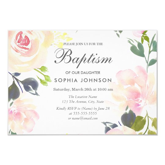 Botanical Elegant Floral Girl Baptism Invite Zazzlecom