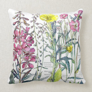 Botanical Evening Primrose Flowers Throw Pillow