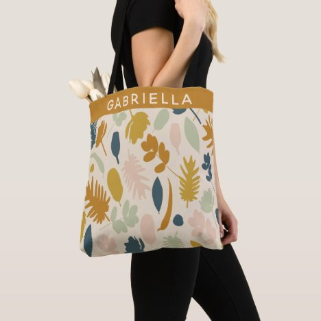 Botanical Fall Flowers Leaves Pattern Personalized Tote Bag