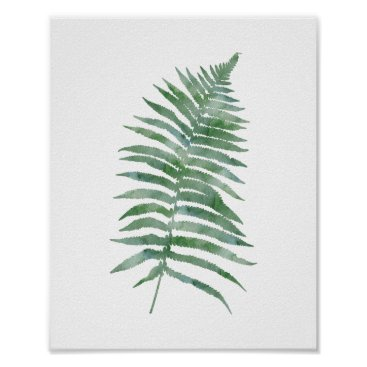 blueskywhimsy Botanical Fern Leaf Green Watercolor Nature Plant Poster