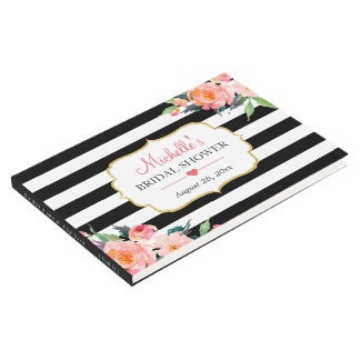Botanical Floral Black White Stripes Bridal Shower Guest Book