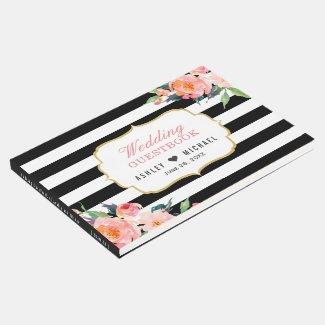 Botanical Floral Black White Stripes Wedding Guest Book