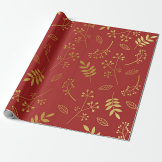 Botanical Floral Leaves Faux Gold Foil Maroon Red Wrapping Paper