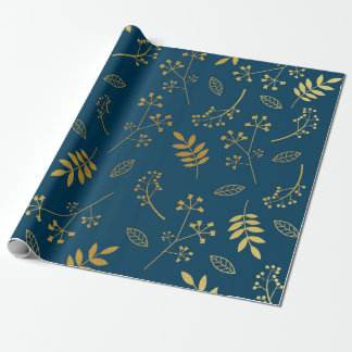 Botanical Floral Leaves Faux Gold Foil Navy Wrapping Paper
