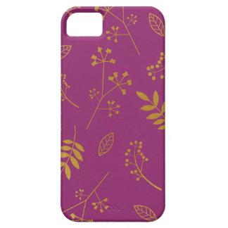 Botanical Floral Leaves Faux Gold Foil Purple iPhone SE/5/5s Case