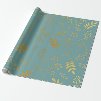 Botanical Floral Leaves Faux Gold Foil Slate Blue Wrapping Paper