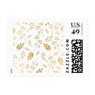 Botanical Floral Leaves Faux Gold Foil White Postage