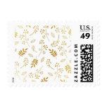 Botanical Floral Leaves Faux Gold Foil White Stamp