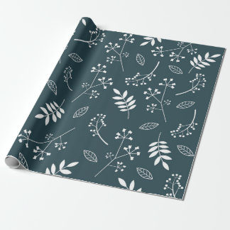 Botanical Floral Leaves Greenery Dark Navy Blue Wrapping Paper