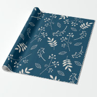 Botanical Floral Leaves Greenery Navy Blue Wrapping Paper