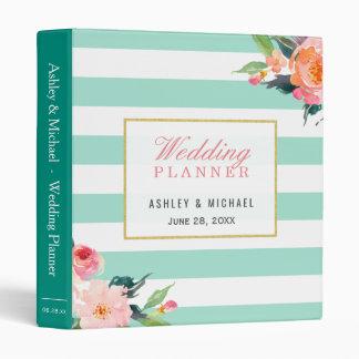 Botanical Floral Mint Green Stripe Wedding Planner Binder
