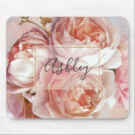 "BOTANICAL FLORAL PEONY Name Monogram Mouse Pad<br><div class=""desc"">BOTANICAL FLORAL PEONY Name Monogram Mouse Pad - Decorate your desk in style with this gorgeous mouse pad featuring a beautiful bouquet of pink roses and peony, over a beautiful pink and blue watercolor background. An elegant, white screened layer bordered by an inner faux gold leaf stroke frames the name,...</div>"
