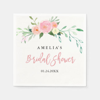 Botanical Floral Watercolor Bridal Shower Napkin