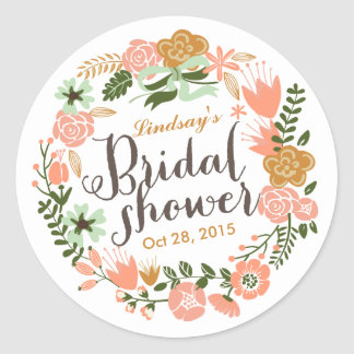 Botanical Floral Wreath Personalized Bridal Shower Classic Round Sticker