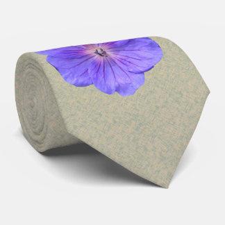 Botanical Flower Bright Blue Geranium Photo Neck Tie