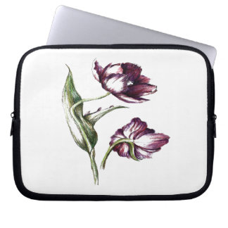 Botanical flower design laptop sleeve