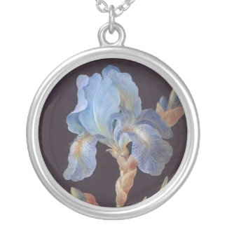 Botanical-Flower-Iris-Blue-Iris-on-Black-22 Round Pendant Necklace