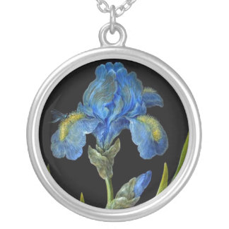 Botanical-Flower-Iris-Blue-Iris-on-Black-32 Round Pendant Necklace