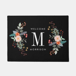 Botanical Flower Monogram Doormat
