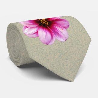 Botanical Flower Pink Dahlia Photo Neck Tie