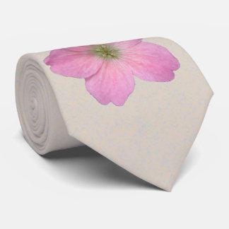 Botanical Flower Pink Geranium Photo Neck Tie
