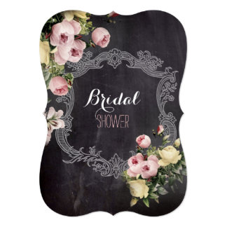 botanical flowers Chalkboard bridal tea party Card