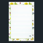 "Botanical Flowers Daffodils Pansies Lined Stationery<br><div class=""desc"">A bright and pretty lined stationery paper decorated with yellow daffodils,  pansies and other wildflowers painted in watercolor. Pretty for letter writing,  to do lists and more!</div>"